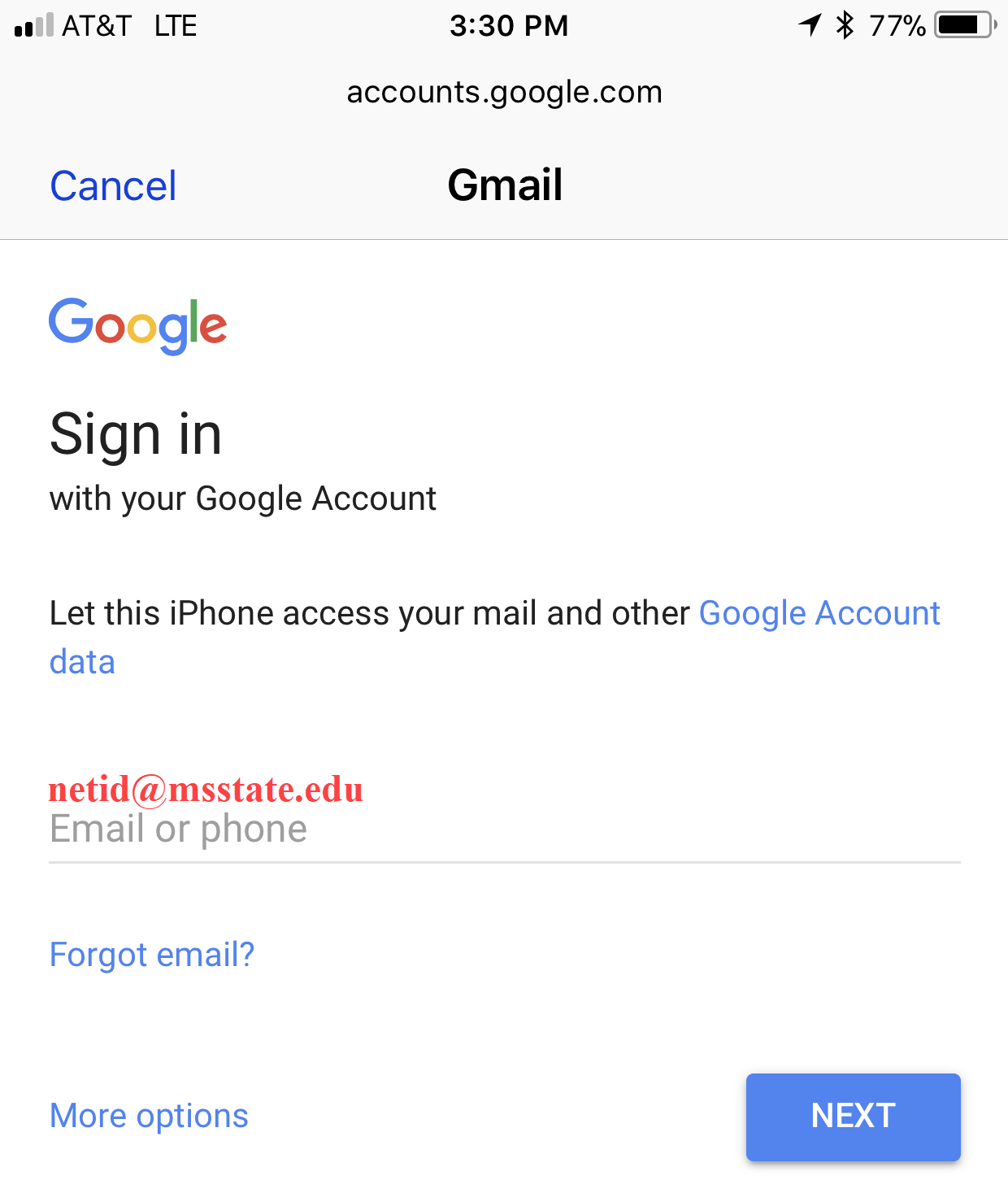 Gmail sign in information