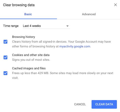 Chrome Clear browsing data - Mac